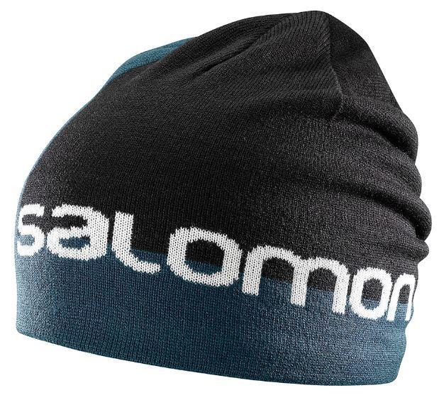 шапка. SALOMON GRAPHIC BEANIE 403520 черн сер светоотр. лого 7c5ad4af98598